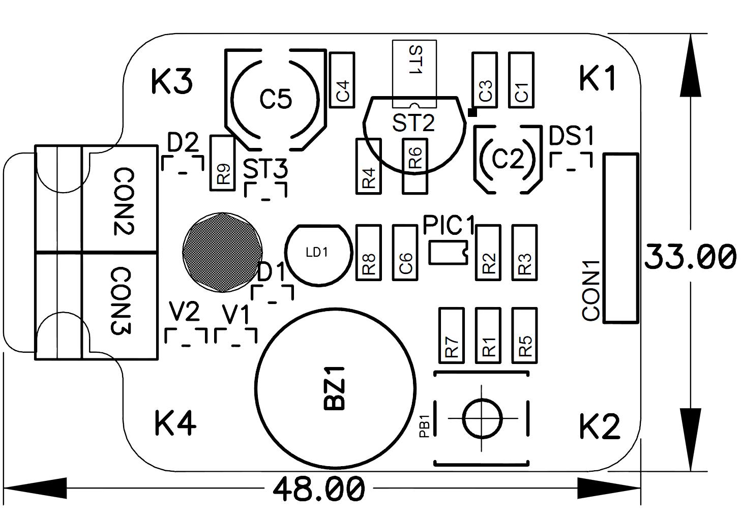 Датчик протески - схема монтажа.