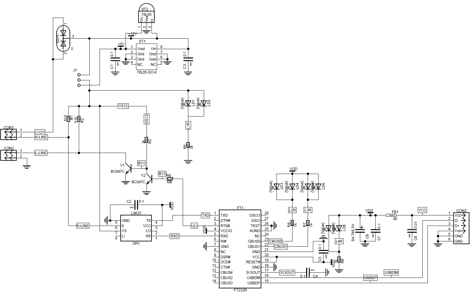 K-line адаптер принципиальная электрическая схема.