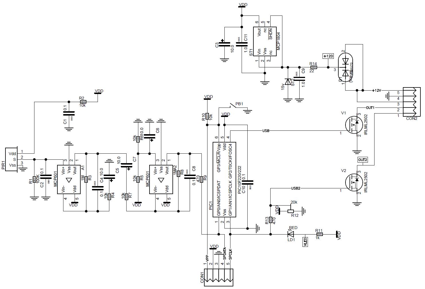 датчик движения на светодиоде схема